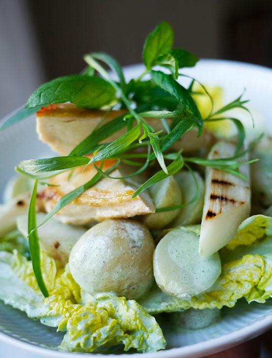 kartoffelsalat asparges kylling